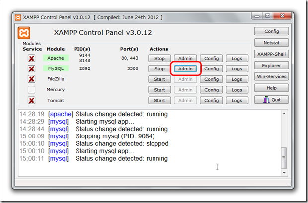 SnapCrab_XAMPP Control Panel v3012  [ Compiled June 24th 2012 ]_2012-8-21_15-2-47_No-00
